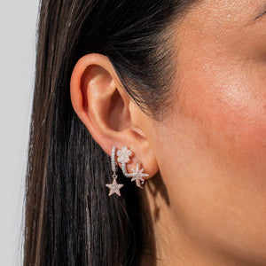 Two-Tone Dangle Star Huggie Earring  - Adina's Jewels