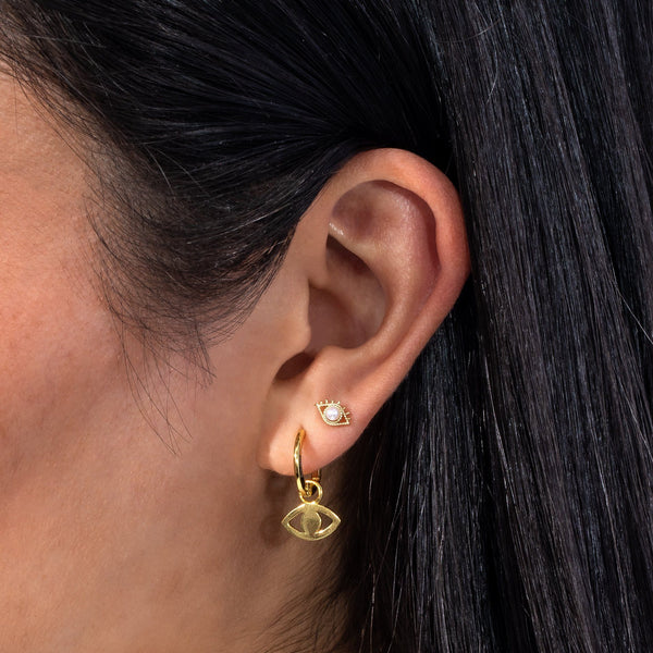 Evil Eye X Pearl Stud Earring - Adina's Jewels