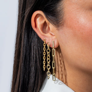 Round Link Drop Stud Earring - Adina's Jewels