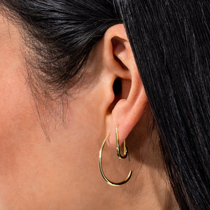 Solid Threader Hoop Earring  - Adina's Jewels