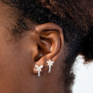 Two-Tone Star Huggie Earring - Adina's Jewels