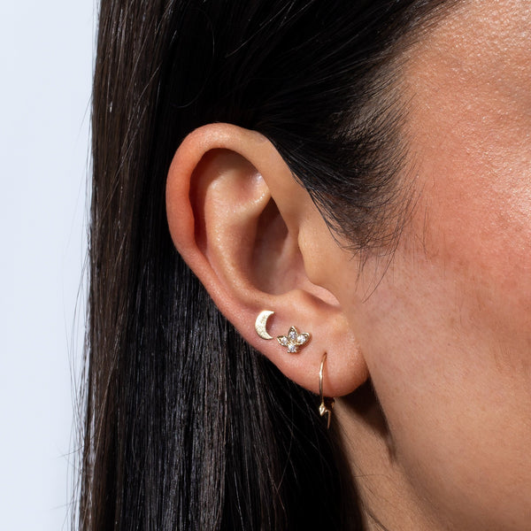 Crescent Threaded Stud Earring 14K - Adina's Jewels