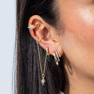 Pavé Dangling Starburst Chain Ear Cuff  - Adina's Jewels