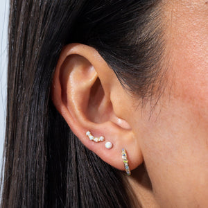 Opal Threaded Stud Earring 14K  - Adina's Jewels