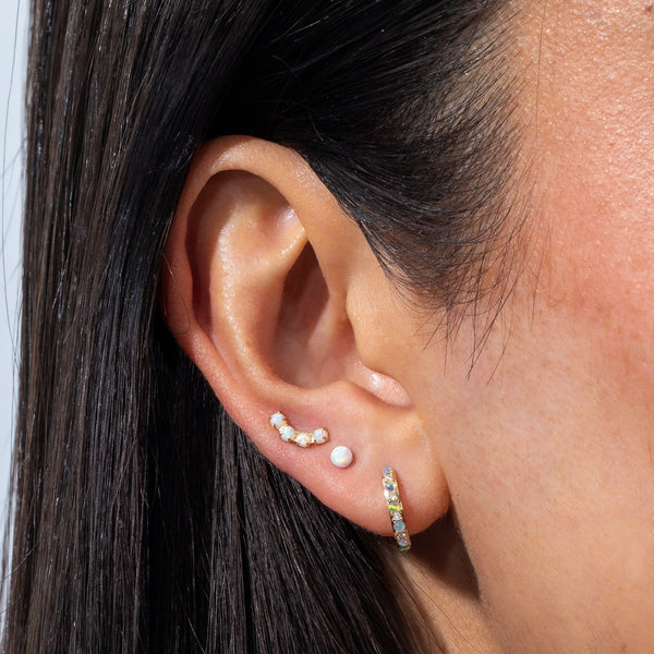 Opal Threaded Stud Earring 14K