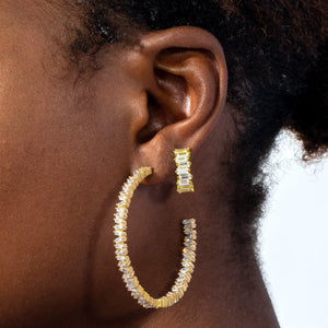 Baguette Large Open Hoop Earring  - Adina's Jewels