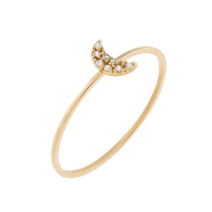14K Gold / 6 Pavé Crescent Ring 14K - Adina's Jewels
