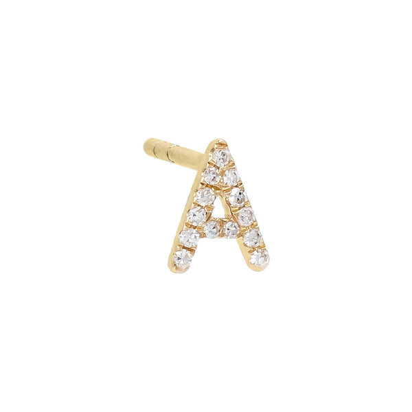 Diamond Initial Stud Earring 14K - Adina's Jewels
