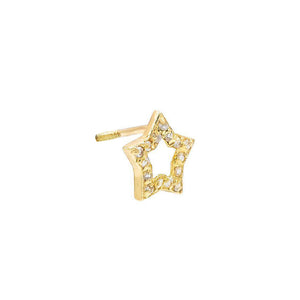 14K Gold / Single Mini Open Star Stud Earring 14K - Adina's Jewels