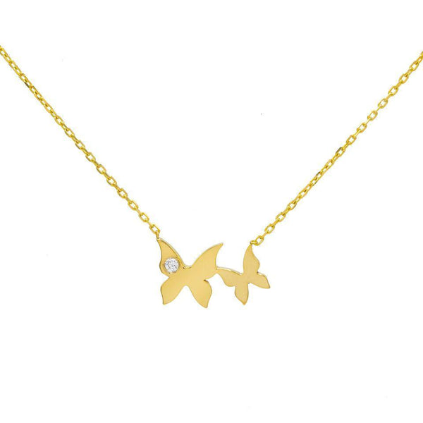 14K Gold Butterfly Necklace 14K - Adina's Jewels