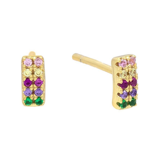 Multi-Color Mini Double Row Stud Earring - Adina's Jewels