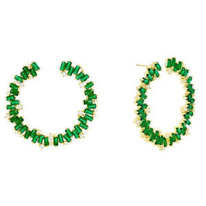 Emerald Green Colored Baguette Hoop Earring - Adina's Jewels