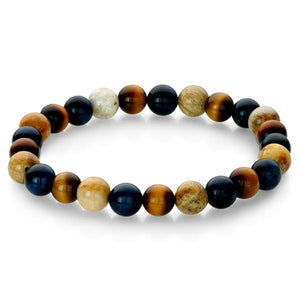 Onyx Chrysanthemum Bead Bracelet - Adina's Jewels