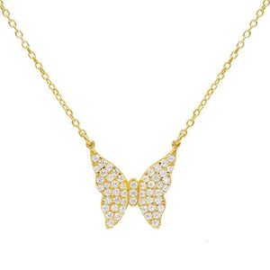 CZ Butterfly Necklace Gold - Adina's Jewels