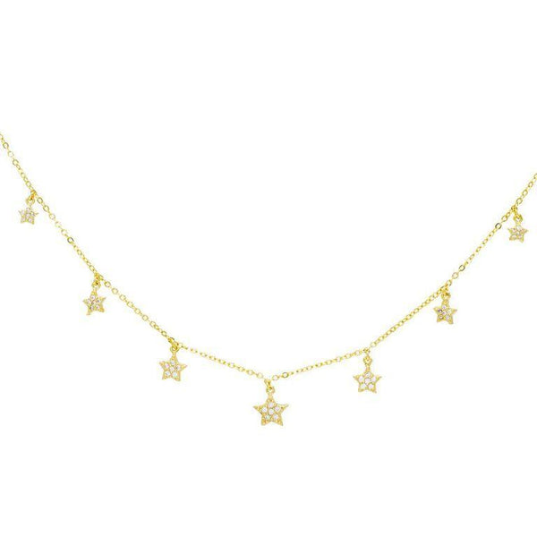 Gold Stars Charm Necklace - Adina's Jewels