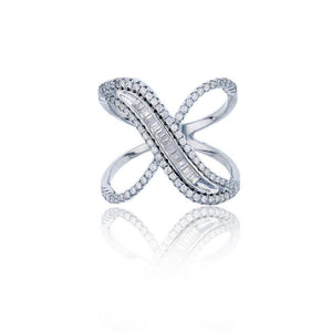 Silver / 7 Baguette X Ring - Adina's Jewels