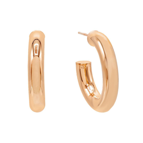 Rose Gold / 35 MM Thick Hollow Hoop Earring - Adina's Jewels