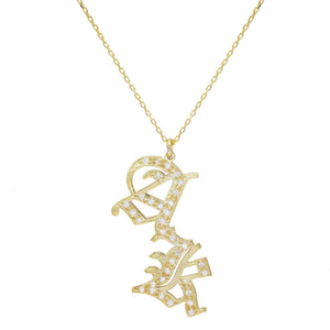 Pavé Gothic Double Initial Necklace Gold - Adina's Jewels