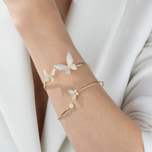 Pavé Double Butterfly Bangle  - Adina's Jewels