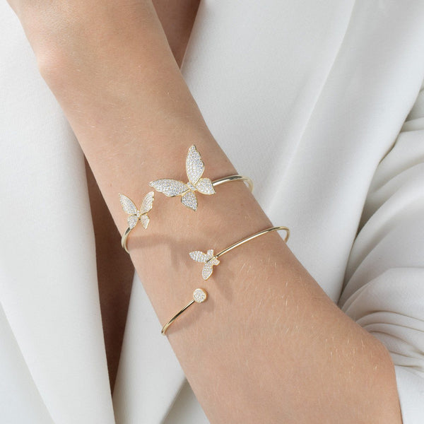 Pavé Double Butterfly Bangle