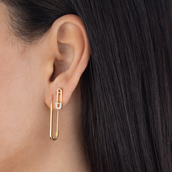Large Solid Safety Pin Earring