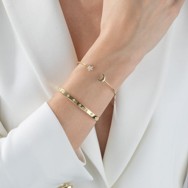 Pavé Star X Crescent Bangle
