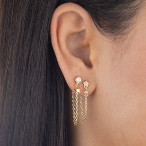 CZ Star Chain Stud Earring  - Adina's Jewels