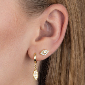 CZ Starburst Evil Eye Huggie Earring  - Adina's Jewels