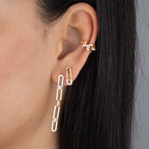 Bezel X Link Drop Stud Earring  - Adina's Jewels