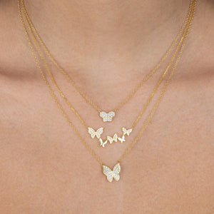Pavé X Solid Multi Butterfly Necklace  - Adina's Jewels