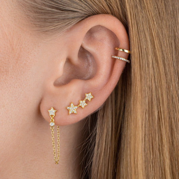 Pavé X Solid Ear Cuff