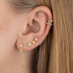CZ Stars Ear Climber  - Adina's Jewels
