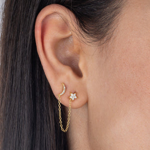 Pavé Star X Moon Drop Stud Earring - Adina's Jewels
