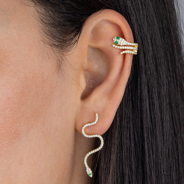 CZ Snake Drop Stud Earring - Adina's Jewels