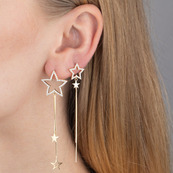 Pavé Star Drop Earring