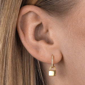 Engraved Pavé Lock Huggie Earring  - Adina's Jewels