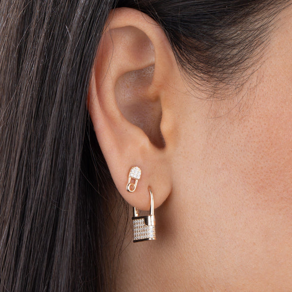 Pavé Lock Huggie Earring - Adina's Jewels