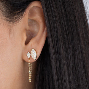 CZ Leaf Shape Stud Earring - Adina's Jewels