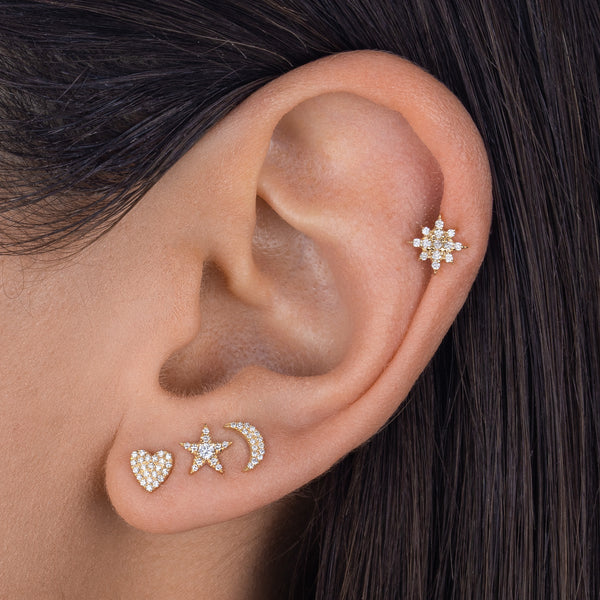 Pavé Star Threaded Stud Earring 14K - Adina's Jewels
