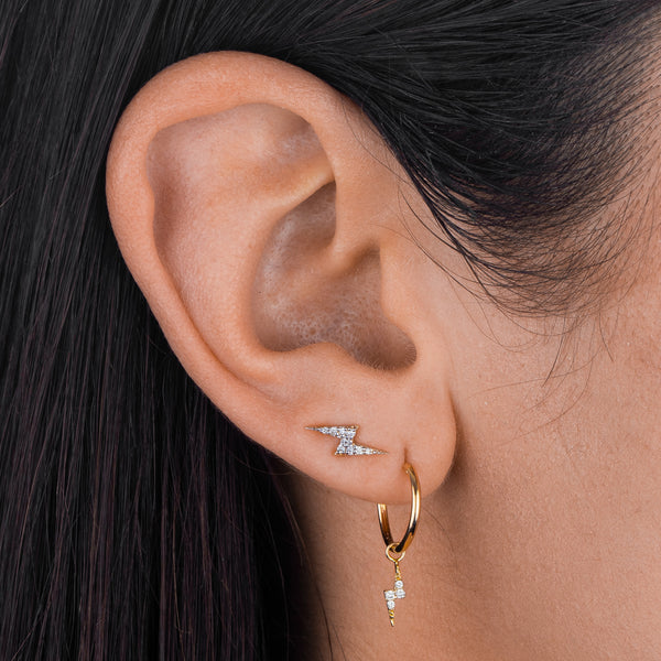 Pavé Lightning Bolt Huggie Earring 14K  - Adina's Jewels