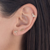Diamond Snake Stud Earring 14K - Adina's Jewels