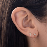Diamond Cross Chain Stud Earring 14K - Adina's Jewels