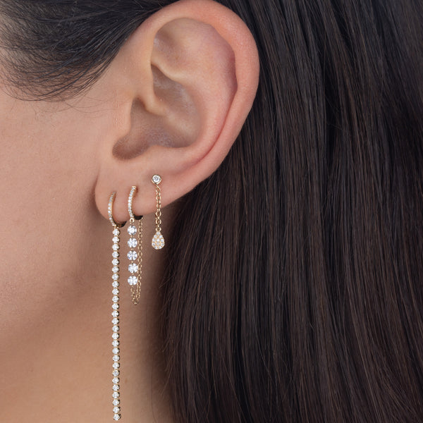 Diamond Teardrop Chain Stud Earring 14K  - Adina's Jewels