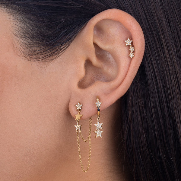 Diamond Dangling Star Huggie Earring 14K - Adina's Jewels