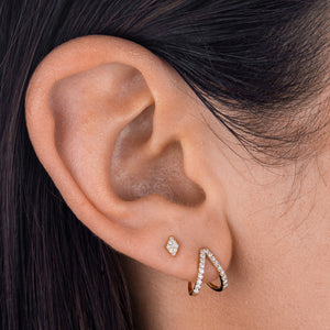 Diamond Shape Stud Earring 14K  - Adina's Jewels