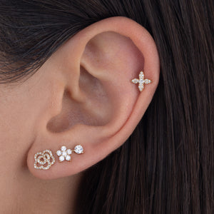 Diamond 5 Petal Flower Stud Earring 14K - Adina's Jewels