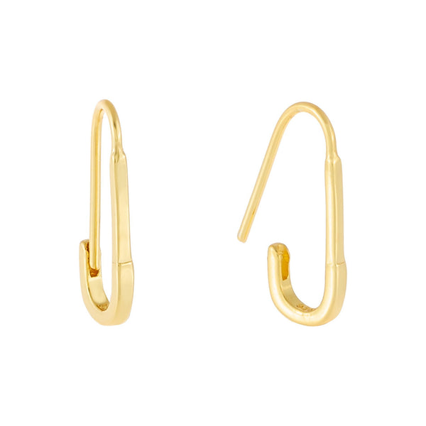 Gold Solid Safety Pin Earring - Adina's Jewels