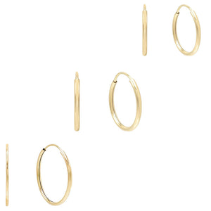14K Gold Solid Hoop Earring Combo Set 14K - Adina's Jewels
