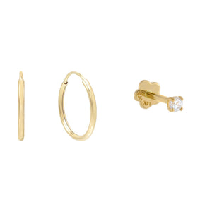 14K Gold CZ Stud X Endless Hoop Earring Combo Set 14K - Adina's Jewels