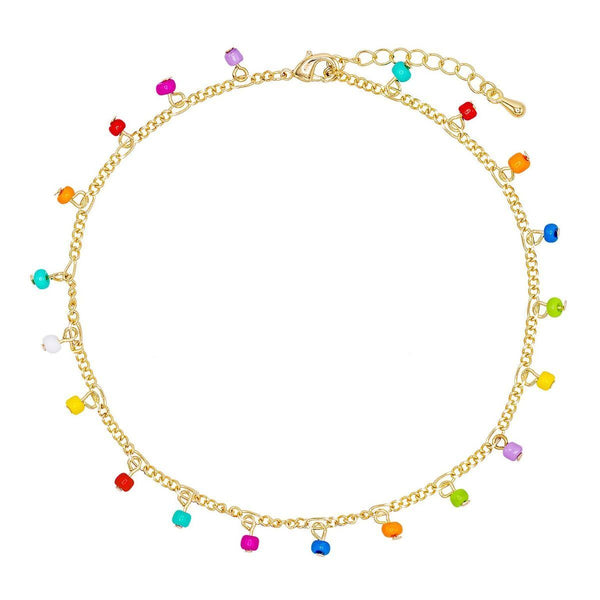 Multi-Color Rainbow Figaro Chain Anklet - Adina's Jewels